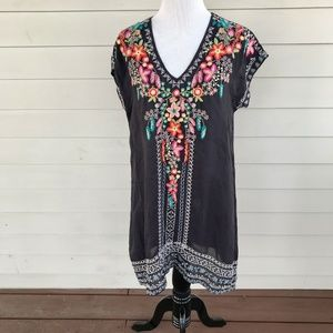 Johnny Was Sheer Floral Embroidered Rayon Dress